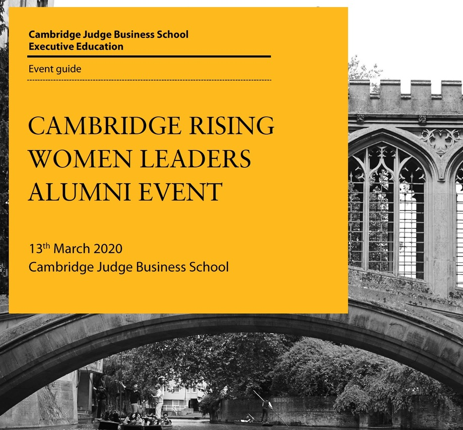 "Dr Vanessa Marcié is invited to lead a workshop at Cambridge Judge Business School in March for the ""Rising Women Leaders"" Programme."